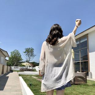 蕾丝边拼接披肩薄外套夏季度假风海边沙滩防晒衣女中长款雪纺开衫