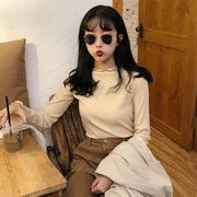秋季女装糖果色坑条显瘦长袖T恤学生纯色卷边打底衫上衣