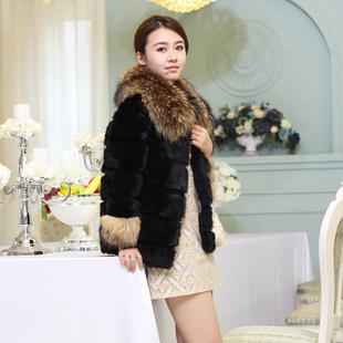 2015秋冬兔毛皮草外套中长款七分袖貉子毛领整皮女装