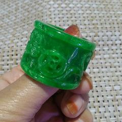 翡翠干青扳指富贵缠身满绿铁龙生金钱如意戒指指环玉戒子男款