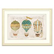 美式儿童房装饰画卧室床头挂画 复古卡通热气球556进口画芯实木框