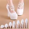 水晶鞋婚鞋女新娘鞋白色蕾丝礼服高跟防水台公主大码透气优雅