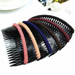 韩国盘发刘海梳带齿发箍发卡日发梳插梳头饰夹子宽边前插饰品