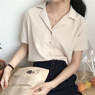 2018夏季气质百搭西装领雪纺短袖衬衫上衣纯色衬衣学生女装潮