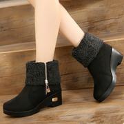 冬季老北京布鞋两穿女鞋棉鞋雪地靴防水台厚底坡跟加绒保暖短靴子
