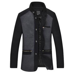 爸爸装男装2014秋冬装男士羊毛呢子外套加厚中年男士夹克