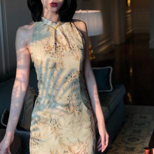 Srose 小香风复古改良旗袍式连衣裙侧开叉女露肩显瘦中国风
