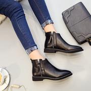 欧美2018秋冬英伦风尖头短靴女平底平跟粗跟女靴单靴马丁靴女