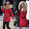 冬季女式棉衣女中长款棉袄大毛领羽绒棉服外套衣