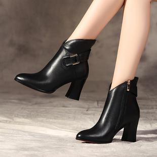 2018秋冬全真皮女靴短靴中跟粗跟尖头短筒靴冬靴牛皮马丁靴33小码