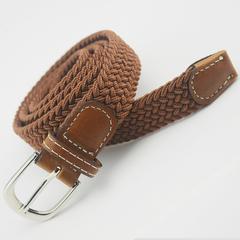 无孔编织细腰带男女士 编制皮带针扣帆布弹力松紧弹力裤带