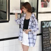 格子衬衫女夏季宽松百搭学生bf长袖中长款防晒衬衣港风薄外套