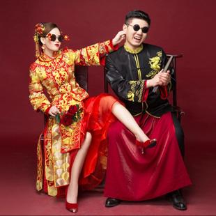 秋冬秀禾服男士龙凤褂唐古装嫁衣中式新郎礼服黑色结婚敬酒服