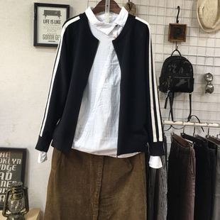 春秋季女装宽松文艺长袖拉链针织开衫线衫毛衣圆领外套女