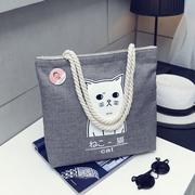 帆布包布袋女文艺学生大容量简约森系韩国chic麻绳手提单肩包