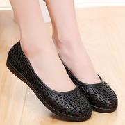 夏季舒适黑色塑料凉鞋女工作鞋妈妈鞋防滑平底透气鸟巢镂空洞洞鞋