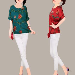 妈妈装2018雪纺衫女夏 直筒圆领短袖复古印花风夏季大码T恤衫
