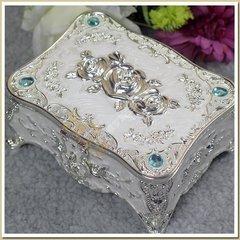 出口俄罗斯欧式珐琅彩釉非木质锡合金玫瑰花系列首饰盒生日