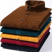 春秋装纯棉灯芯绒男衬衫长袖纯色宽松条绒全棉衬衣加肥加大码
