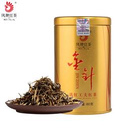 凤牌红茶 茶叶 云南金丝滇红金针金芽茶工夫红茶60g罐装 凤庆红茶