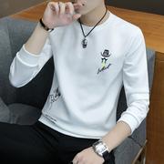 冬季长袖T恤男圆领男士卫衣学生衣服加绒打底衫秋衣男装