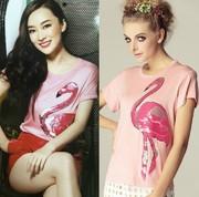 夏季时尚大牌T恤芭比粉镶亮片超量上衣女装冲钻
