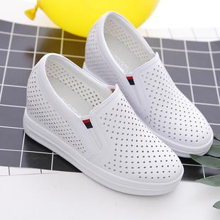 夏季镂空内增高女鞋透气小白鞋百搭一脚蹬懒人鞋坡跟乐福休闲鞋女