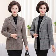 中年女士秋季时尚上衣小西装40岁50妈妈装春秋装大码格子西服外套