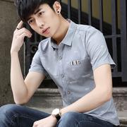 夏季男士短袖寸衫青少年潮衬衫免烫学生口袋半袖衬衣