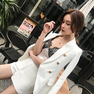 双排扣白色西装外套女中长款金属扣长袖气质职业西服chic时尚套装