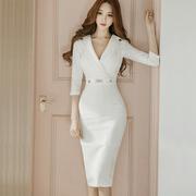 2018秋显瘦OL气质时尚V领七分袖包臀职业装女白色连衣裙
