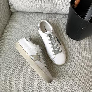 一力米灰春秋季圆头系带平底真皮运动小白单鞋星星做旧小脏鞋子女