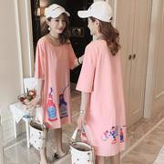 春夏大码纯棉卡通体恤半袖潮宽松中长款粉色短袖t恤裙女学生