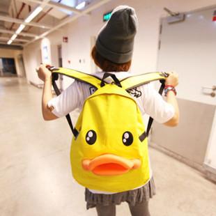 原宿风小黄鸭双肩包男女学生情侣可爱电脑旅行书包背包