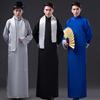 中式长袍马褂先生相声表演出服装复古盘扣民国长衫大褂男士伴郎服