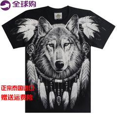 泰国潮牌印第安捕梦网狼头短袖T恤 动物印花纯棉进口大码T恤