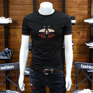 欧洲站男装小蜜蜂刺绣t恤圆领丝光棉半恤玫瑰花潮流大码短袖