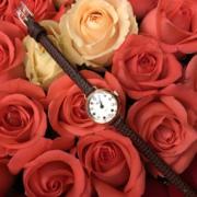 日本Rosemont 圆形彩色宝石表盘 钢链条金银女士rose手表轻奢腕表