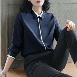 加绒雪纺衬衫女长袖2018秋冬中长款职业大码衬衣加厚打底上衣