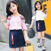 儿童装女童夏装套装2018夏季女孩露肩潮衣服中大童短袖两件套
