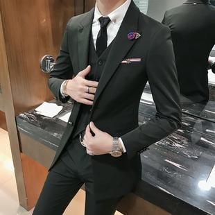 西装套装男士三件套小西装中长款潮流发型师西服伴郎礼服