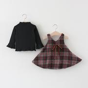 童装女童秋装2019儿童格子背心裙子两件套洋气女宝宝套装春秋
