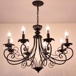 欧式客厅吊灯现代家用灯具个性创意服装店民宿铁艺复古蜡烛吊灯