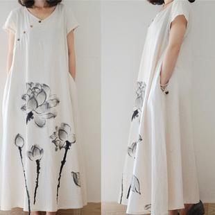 夏季文艺大码女装中国风水墨印花短袖亚麻长裙宽松棉麻连衣裙
