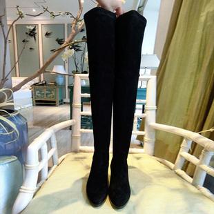 欧洲站秋冬女靴新过膝靴瘦腿弹力靴磨砂真皮女靴子高筒靴粗跟长靴
