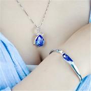 925纯银项链女百搭送学生日新年礼物耳环套装首饰品水晶锁骨吊坠