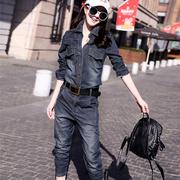 欧洲站女款牛仔成套衣服春秋夏哈伦裤两件套欧版套装运动套装