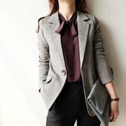 羊毛呢英伦风格子西装外套女士2020春秋季修身短款休闲小西服