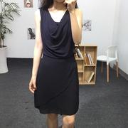 裂诺 春夏OL风连衣裙女圆领无袖系带雪纺裙短款一步裙0.35XH4882