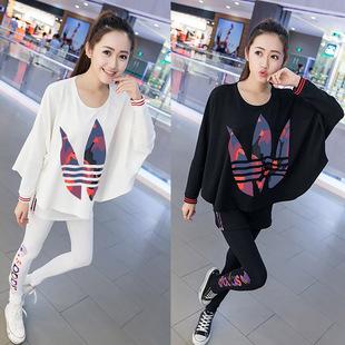 时尚套装女2019春秋女装蝙蝠袖大码宽松运动长袖两件套潮